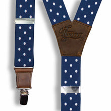 Load image into Gallery viewer, Statement Polka Dot Navy Wide No. E623