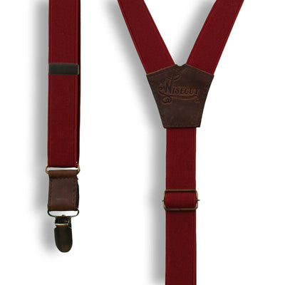 Cordovan Burgundy Formal men's Suspenders on Brown thin 1 inch wide - Wiseguy Suspenders
