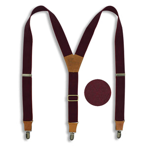 Burgundy with Checkered Woven Pattern formal mens Suspenders 1.3 inch - Wiseguy Suspenders
