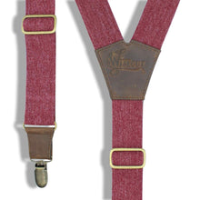 Load image into Gallery viewer, Burgundy Elastic Jeans look Suspenders with dark brown leather parts - Wiseguy Suspenders