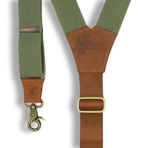 Charger Army Green Elastic Braces with Camel Brown Leather Back strap - Wiseguy Suspenders
