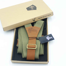 Load image into Gallery viewer, Charger Army Green Elastic Braces with Camel Brown Leather Back strap - Wiseguy Suspenders