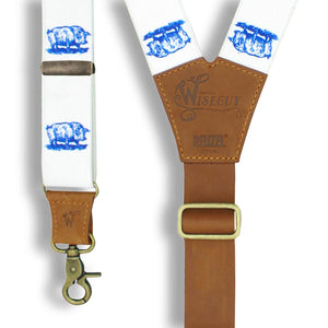 Charger Reuzel Edition 'Scumbag' Pig on White Suspenders 1.3 inch wide - Wiseguy Suspenders