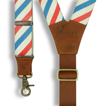 Load image into Gallery viewer, Charger Schorem Barber Striped with Camel Brown Leather Back Strap - Wiseguy Suspenders