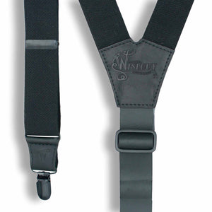 Charger Black Leather/Elastic Men Suspenders wide 1,36 inch/ 3,5 cm - Wiseguy Suspenders