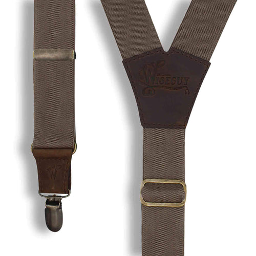 Chocolate on Dark Brown Y back thin Men's Suspenders 1 inch wide - Wiseguy Suspenders