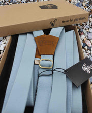 Load image into Gallery viewer, Cloud Blue Wedding Suspenders thin Y back on Camel Brown 1 inch wide - Wiseguy Suspenders