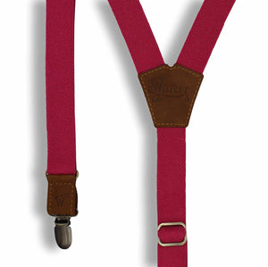 The Cyclamen Red 1 inch thin Y shape casual Suspenders Braces for Men - Wiseguy Suspenders