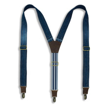 Charger l'image dans la galerie, Salvaged Denim Flex Suspenders with Navy Blue Stripes, wide straps (1.36 inch/3.5 cm) - Wiseguy Suspenders