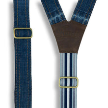 Carica l'immagine nel visualizzatore di Gallery, Salvaged Denim Flex Suspenders with Navy Blue Stripes, wide straps (1.36 inch/3.5 cm) - Wiseguy Suspenders