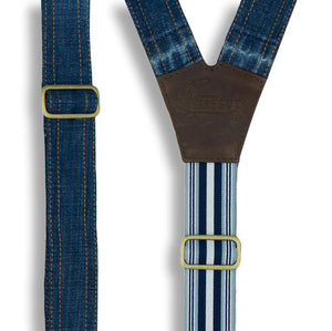 Salvaged Denim Flex Suspenders with Navy Blue Stripes, wide straps (1.36 inch/3.5 cm) - Wiseguy Suspenders