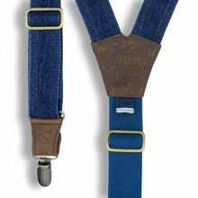 Load image into Gallery viewer, Red Lion Selvedge Denim Suspenders on Dark Brown Leather 1.3 inch wide - Wiseguy Suspenders