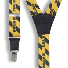 Load image into Gallery viewer, Do Not Cross Yellow casual Suspenders 1.3 inch wide straps - Wiseguy Suspenders