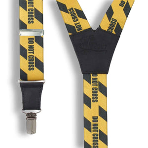 Do Not Cross Yellow casual Suspenders 1.3 inch wide straps - Wiseguy Suspenders
