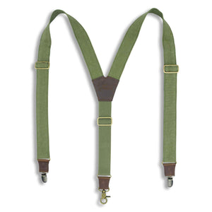 "Duck Canvas Army Green Suspenders with Green Elastic back strap 1.3"" - Wiseguy Suspenders"
