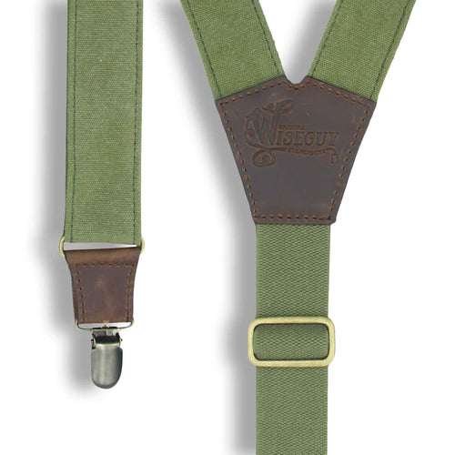 Duck Canvas Army Green Suspenders with Green Elastic back strap 1.3