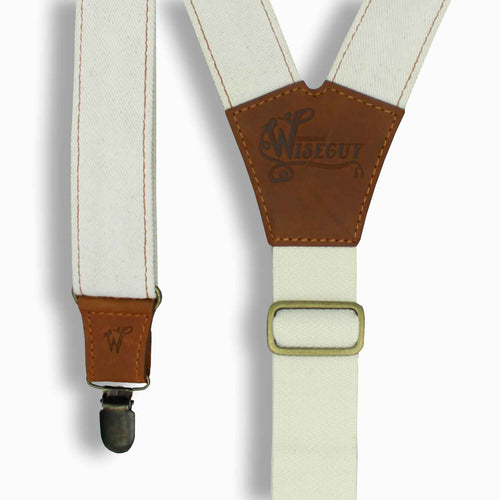 The Duck Ivory Denim Braces with Camel Brown Leather Parts 1.3 inch - Wiseguy Suspenders