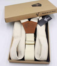 Load image into Gallery viewer, The Duck Ivory Denim Braces with Camel Brown Leather Parts 1.3 inch - Wiseguy Suspenders