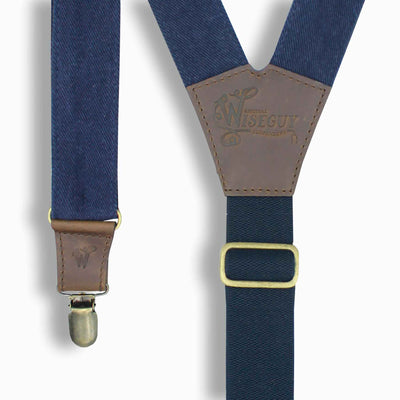 "The Duck Denim Blue Suspender with adjustable Elastic Back Strap 1.3"" - Wiseguy Suspenders"
