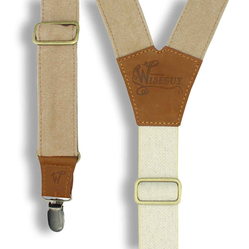 The Duck Canvas Mocca Suspenders with Elastic Sand color back strap - Wiseguy Suspenders