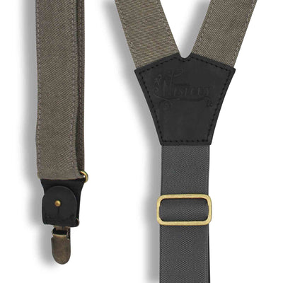 Duck Canvas Gray mens Suspenders with adjustable Elastic Back Strap - Wiseguy Suspenders