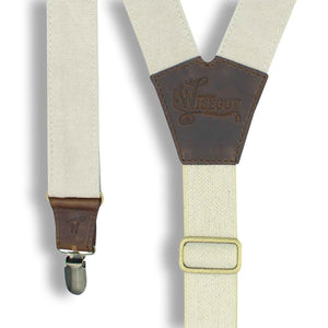 The Duck Canvas Vintage white Suspenders with white Elastic back strap - Wiseguy Suspenders