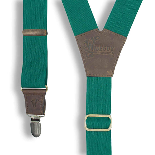 Emerald Green Best Suspenders Braces with Dark Brown Leather parts - Wiseguy Suspenders