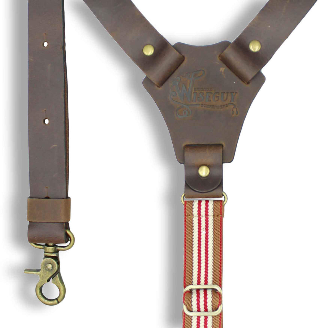 Flex Dark Brown Leather Braces with Monaco striped Elastic Back Strap - Wiseguy Suspenders