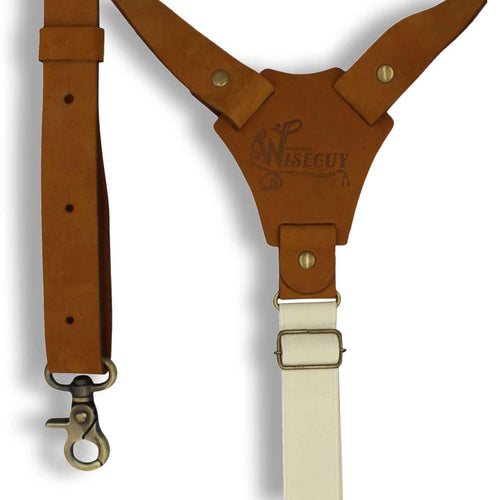 Flex Camel Brown Leather Braces with Elastic off-white Back Straps 1