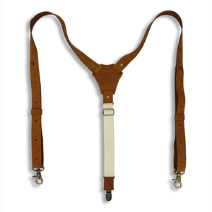 "Flex Camel Brown Leather Braces with Elastic off-white Back Straps 1"" - Wiseguy Suspenders"
