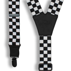 The Formula Black/White 1.3 inch men's Suspenders with black parts - Wiseguy Suspenders