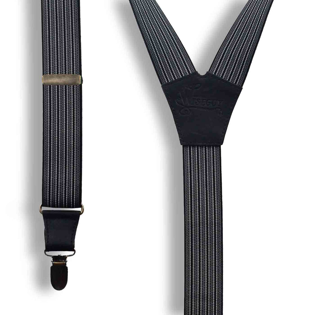 The Gentleman Formal Dress Striped Suspenders 1.3 inch wide - Wiseguy Suspenders