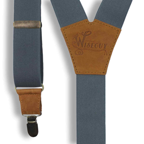 Gray on Camel Brown Suspenders wide straps (1.36 inch/3.5 cm) - Wiseguy Suspenders