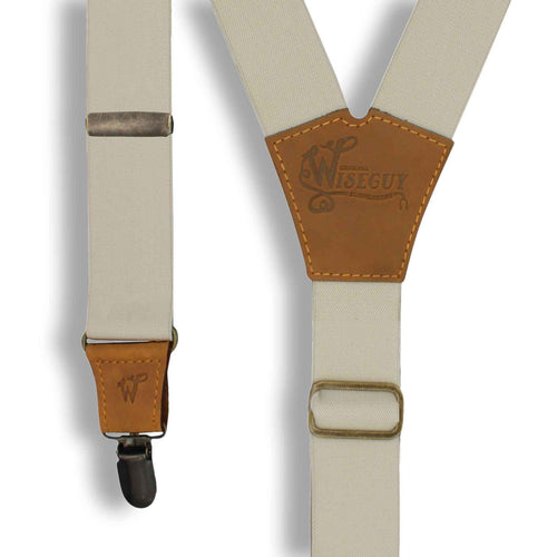 Ivory on Camel Brown Suspenders wide straps (1.36 inch/3.5 cm) - Wiseguy Suspenders