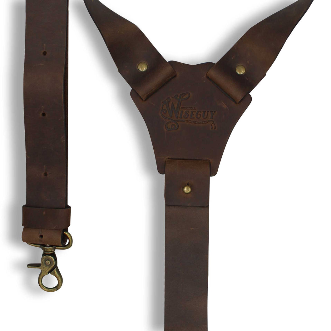 Crazy Horse 1.3 inch Wide Dark Brown Genuine Nubuck Leather Suspenders - Wiseguy Suspenders