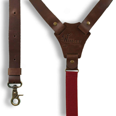 Flex Dark Brown leather Suspenders with Burgundy Elastic Back Strap - Wiseguy Suspenders