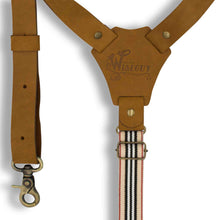 "Load image into Gallery viewer, Flex Camel Brown Leather Suspenders with Road Rage Striped Elastic 1"" - Wiseguy Suspenders"