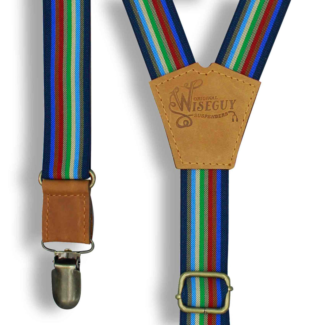 Liberty - Multi Colored Striped Suspenders slim straps (1 inch/2.54 cm) - Wiseguy Suspenders