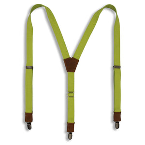 The Lime on Camel Brown Suspenders & Brass slim straps ( 1 inch/ 2.5cm) - Wiseguy Suspenders