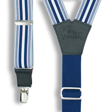 Load image into Gallery viewer, Multitrack Blues Striped Suspenders wide straps (1.36 inch/3.5 cm) - Wiseguy Suspenders