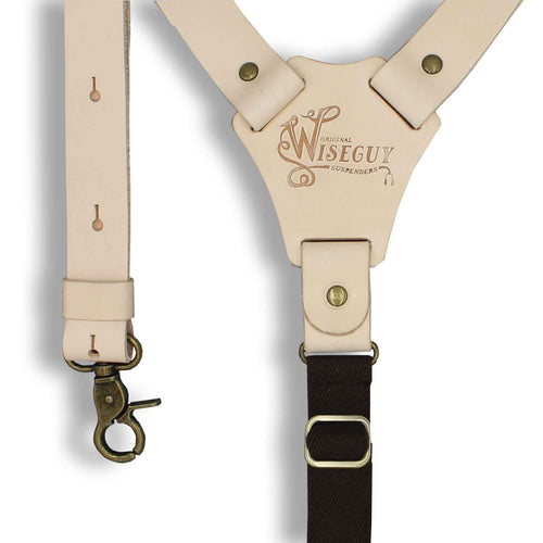 Crazy Horse Flex RAW Leather with brown elastic 1 inch back straps - Wiseguy Suspenders