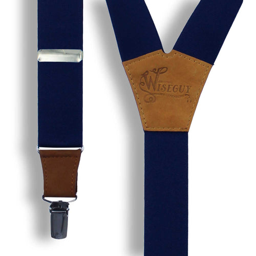 Navy Blue on Camel Brown Suspenders wide straps (1.36 inch/3.5 cm) - Wiseguy Suspenders