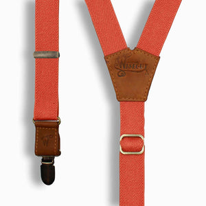Orange 1 inch Elastic suspenders with Camel Brown Leather parts - Wiseguy Suspenders