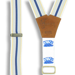 Reuzel High 'n' Tight suspender on Camel Brown wide straps (1.36 inch / 3.5 cm) - Wiseguy Suspenders