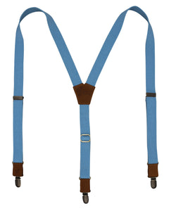 The Sky Blue Suspenders on Camel Brown & Brass slim straps (1 inch/ 2.5 cm) - Wiseguy Suspenders