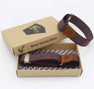Sleeve Garters Herringbone Burgundy No. S432