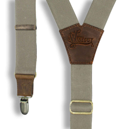 Smokey Beige on Dark Brown Suspenders wide straps (1.36 inch/ 3.5 cm) - Wiseguy Suspenders