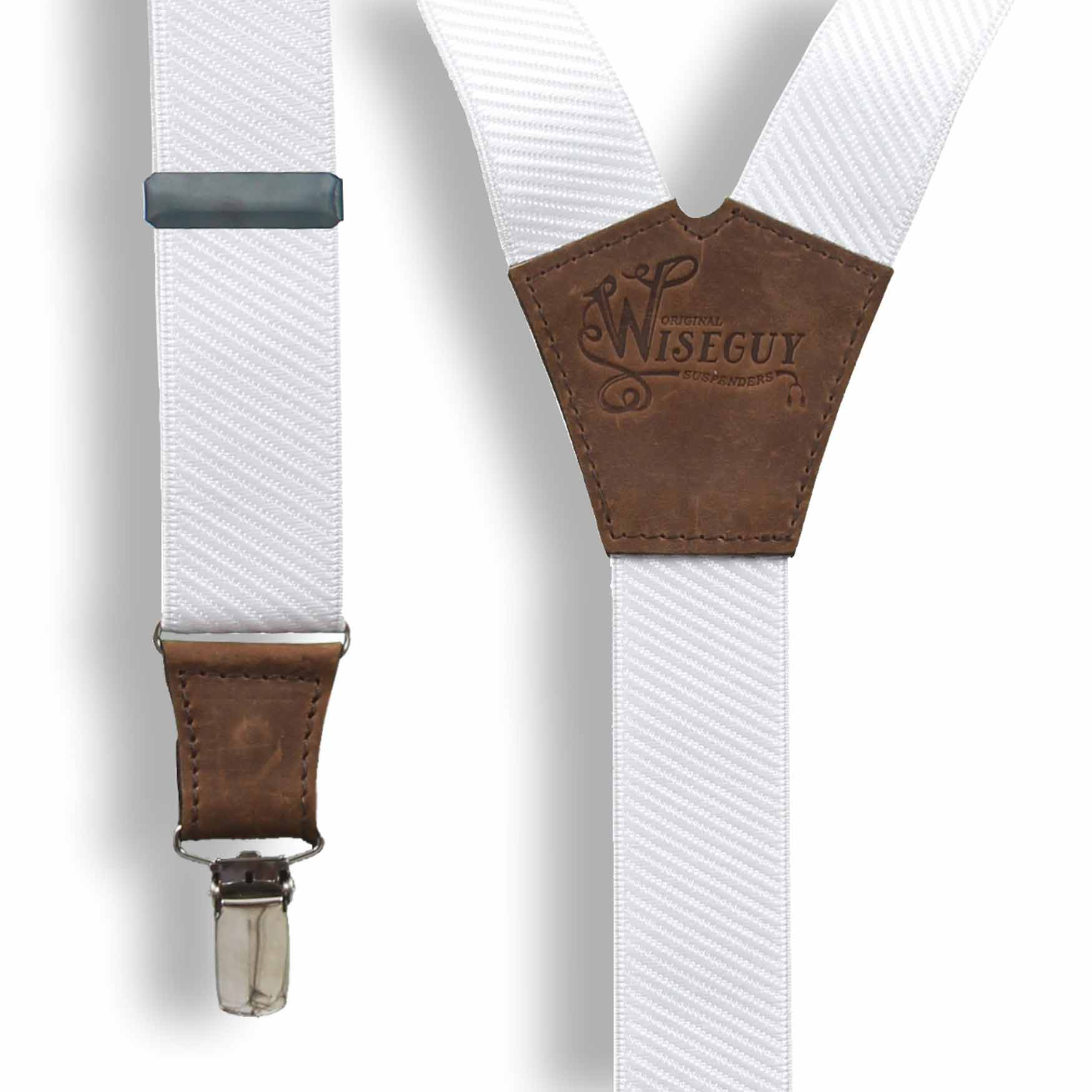 Wiseguy M The Barista Coffee Brown Elastic Handmade Men Suspenders 1.3 inch with Brown Leather Parts