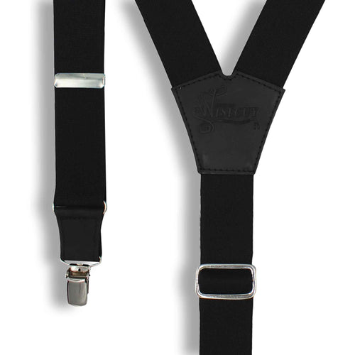 Soul Suspenders Black on Black wide straps (1.36 inch/3.5 cm) - Wiseguy Suspenders