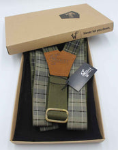 Load image into Gallery viewer, Tartan Olive-black-white Suspenders wide straps (1.36 inch/ 3.5cm) - Wiseguy Suspenders